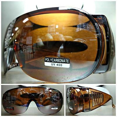 WRAP AROUND DRIVING SAFETY SUN GLASSES Over RX Glass Fit Large Brown Frame (Over Sunglasses Wrap Around)