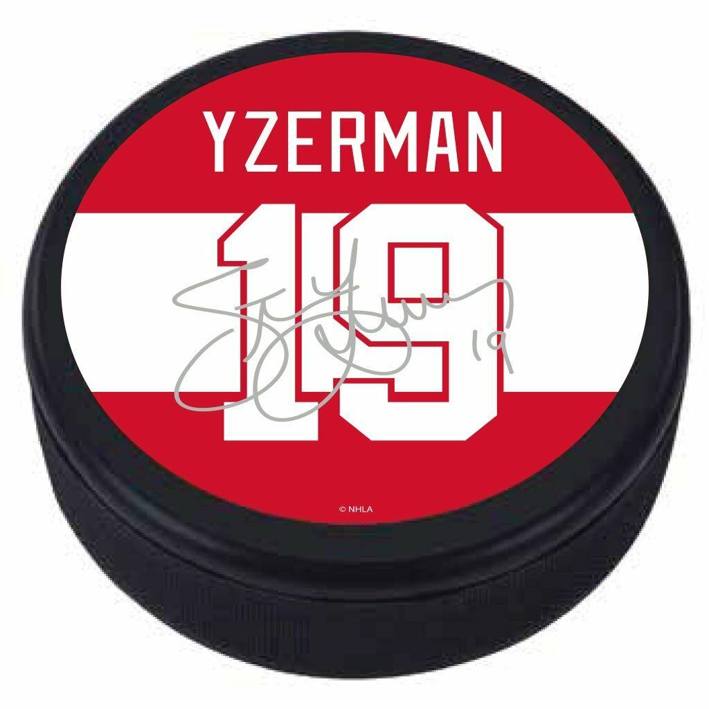 wholesale dealer d115c 4fcf5 Details about Steve Yzerman #19 Detroit Red Wings Souvenir Player Puck  w/Replica Signature