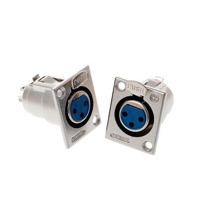 2 Pcs Nickel Plated 3 Pin XLR Female Receptacle Adapter Jack Panel Mount Speaker 3 Pin Xlr Female Receptacle