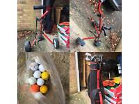 Golf clubs, bag, trolley and balls