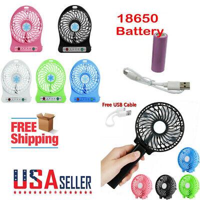 Mini Portable Hand-held Desk Fan Cooling Cooler USB Rechargeable +18650 Battery](Mini Hand Held Fan)