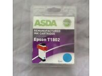 Brand New and Unopened Asda Remanufactured Epson T1802 Cyan Ink Cartridge