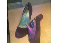 Irregular Choice purple suede shoes with lilac metallic heel and trim Size 41. Gorgeous!