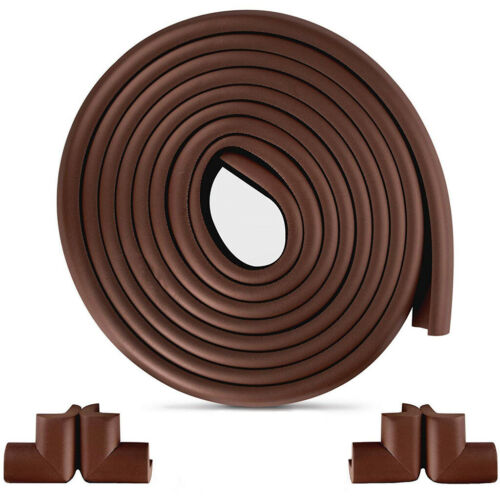 15ft Edge Corner Cushion Guard + 4pcs Baby Safety Corner Guards (Brown)