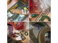 Florist supplies, ribbon, oasis wreaths, wire, glue sticks, satin ribbon scrapbooking fabric JOB LOT