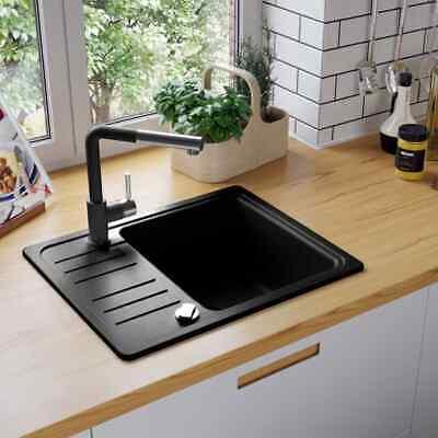 vidaXL Fregadero Cocina 1 Seno Negro Granito Fregadero Lavabo Caño Lavaplatos