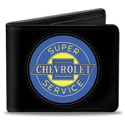 Men Wallet Bifold Chevrolet Impala Camaro Super Service Logo Black Blue Yellow