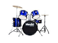 Mendini by Cecilio Full Size Drum Set with Cymbals-Pedal-Throne-Drumsticks-Metallic Blue - MDS80-BL