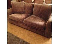 Next 3 seater fabric sofa in minky brown colour