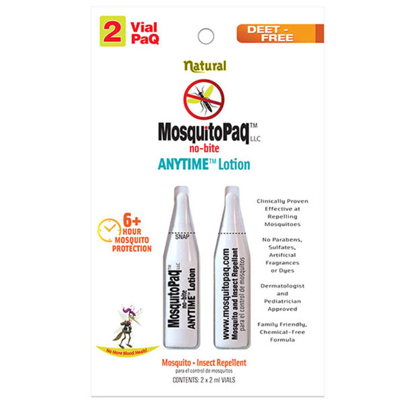 MosquitoPaq No Bite Anytime Lotion 2 Vial Pack DEET Free Mosquitos
