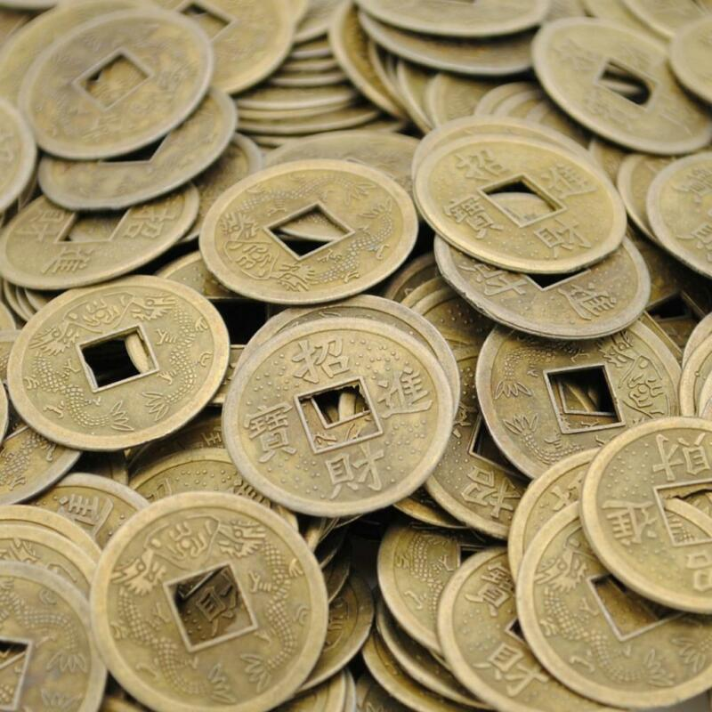 """LOT OF 40 FENG SHUI COINS 0.9"""" 2.3cm Diameter Lucky Chinese Fortune Coin I Ching"""