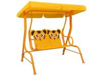 Kids Swing Bench Yellow 115x75x110 cm Fabric-48098