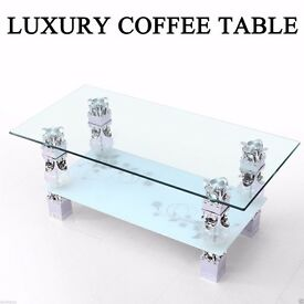 Coffee Table Chabby Chic White Glass with Shelf for Living Room Home Furniture Modern Rectangle