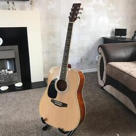 Encore left handed Acoustic Guitar & Stand