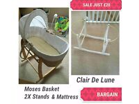 Clair de lune moses basket set and extra stand all for £20