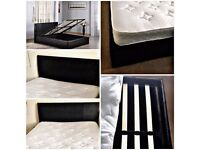 Double 4'6 Faux Leather Storage Bed in Black with or without mattress