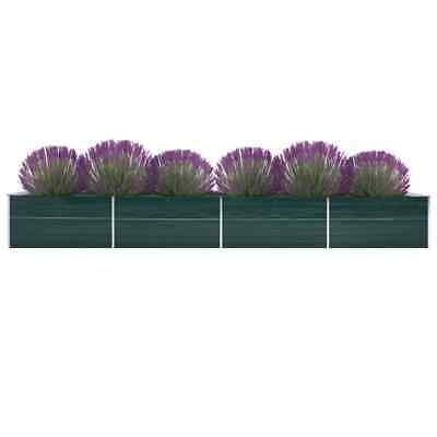 vidaXL Arriate de Jardín de Acero Galvanizado Verde 600x80x77 cm Maceta Casa