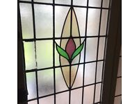 Art Deco Stained Glass Front Door With Matching Side Windows