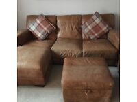 Excellent condition...Tan leather 3 seater and 2 seater sofa for sale