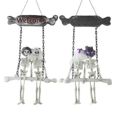 Halloween Willkommenschild Türschild Wandschild mit Skelett Brautpaar