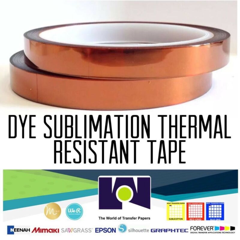 Dye Sublimation Heat Resistant Thermal Tape 10mm*33m 2 Rolls