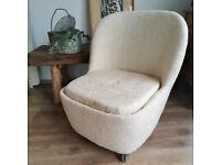 Stunning Mid-Century German Egg Chair on Casters Upholstered in Boucle Fabric