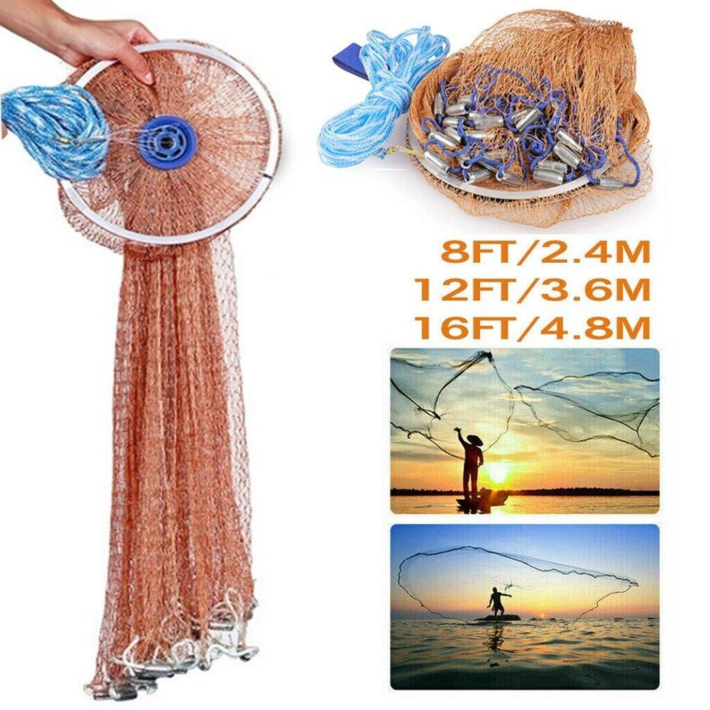 Magic Hand Throw Fishing Cast Net Spin Bait Sinker Mesh Equipment Q8O2