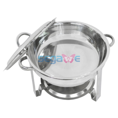 Cook and Home Round Chafing Dish Chafer with Lid 5-QT, 5 quart Stainless Steel Business & Industrial