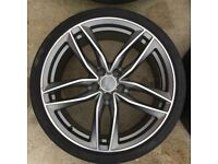 "19"" audi s3 alloys just bn powdercoated 4 new pirellis also mid + rear exhaust & s/steel backbox new"