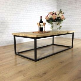 Industrial Coffee Table Vintage Reclaimed Wood Calia Style Plank Top Metal