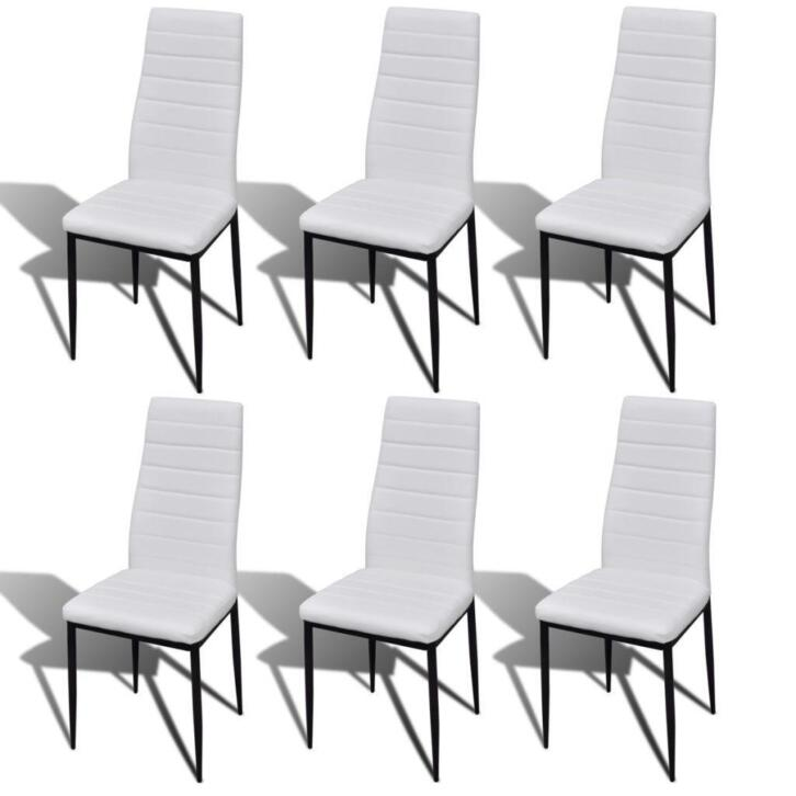 Vidaxl Chaise De Salle à Manger 6 Pcs Avec Design Fin Blanc