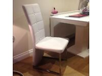 Two White / Chrome Dining Table Chaira