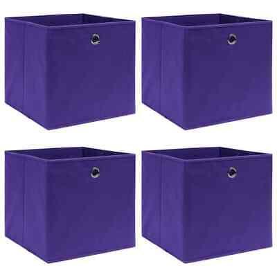 vidaXL 4x Cajas de Almacenaje Tela Morado Organizador Almacenamiento Caseta