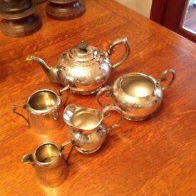 Silver Tea pot, sugar bowl and jug