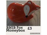 BNIB Sleeping Fox Money Box