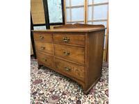 Vintage Oak 6 Drawers Chest on Castors