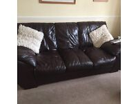 Brown Leather three piece suite with matching storage stool