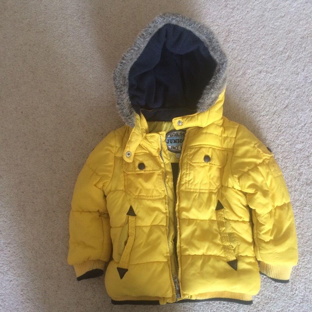 Yellow fleece lined boys winter jacket 12-18 months