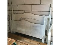 Heavy pine king size bed with wooden slats. (No mattress)