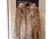 Ladies faux fur leopard print jacket