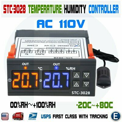 Stc-3028 Ac110-220v Dual Led Temperature Humidity Controller Digital Thermostat