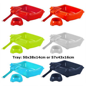 Details about Cat Litter Tray With Rim + Bowl + Scoop Open Plastic Box Toilet