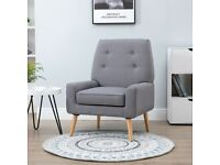 Single Cushion Padded Chair Wooden Armchair Button Tufted Seat Linen