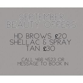 September beauty offers *shellac, HD Brows, spray tans, inch loss wraps