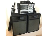 "Phonic Power Pod Amplifier System + Peavey 15"" speaker pair - including stands and cables"