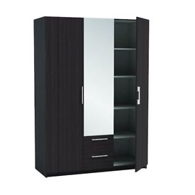 3 DOOR MIRRORED WARDROBE with 2 draws BLACK AND WHITE