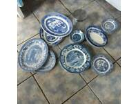 Willow patterned dinner ware Bury