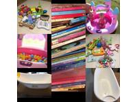 Baby bath, children's books, toys, ball pool