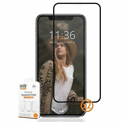 iPhone X Tempered Glass Screen Protector Pro-Fit - Black Frame by Orzly  Iphone Screen Protector