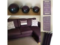 Purple home items. Wall art, curtains..